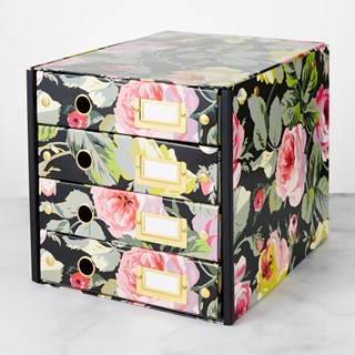 Anna Griffin Click N Store 4 Drawer Storage Box, Black Floral
