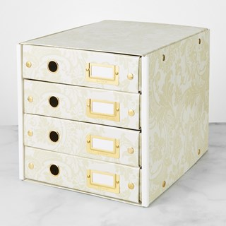 Anna Griffin Click N Store 4 Drawer Storage Box, Cream Floral